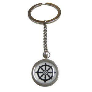 Bordered Buddhist Wheel of Dharma Design Keychain